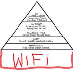 La pyramide de la hiérachie des besoins de Maslow, fameusement détournée et mise à jour. Pour en savoir plus http://fr.wikipedia.org/wiki/Pyramide_des_besoins