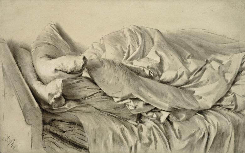 Adolph Menzel (1815-1905), Ungemachtes Bett (1846), Kupferstichkabinett der Staatlichen Museen zu Berlin, licence cc by-nc-sa.